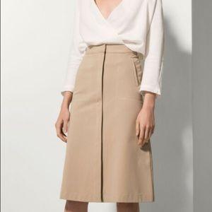 Massimo Dutti A Line Midi High Rise khaki Skirt
